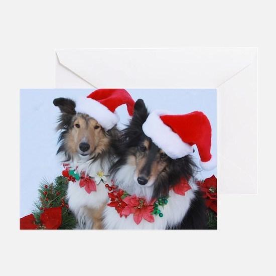 Christmas Santa Shelties Greeting Card