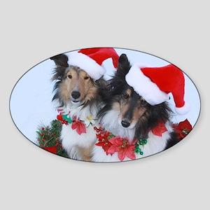 Christmas Santa Shelties Sticker (Oval)