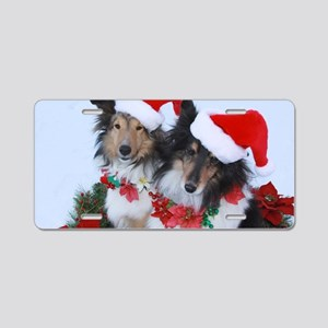 Christmas Santa Shelties Aluminum License Plate
