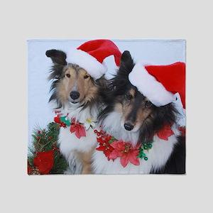 Christmas Santa Shelties Throw Blanket