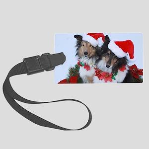 Christmas Santa Shelties Large Luggage Tag