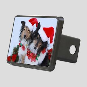 Christmas Santa Shelties Rectangular Hitch Cover