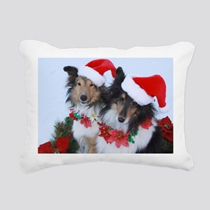 Christmas Santa Shelties Rectangular Canvas Pillow