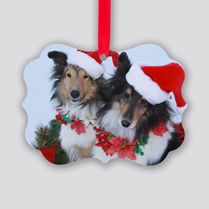 Christmas Santa Shelties Picture Ornament