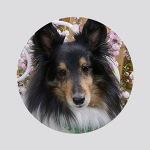 Tricolor Shetland Sheepdog Round Ornament
