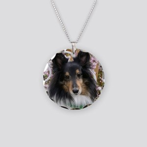 Tricolor Shetland Sheepdog Necklace Circle Charm