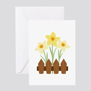 Fenced Flowers Greeting Cards