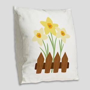 Fenced Flowers Burlap Throw Pillow