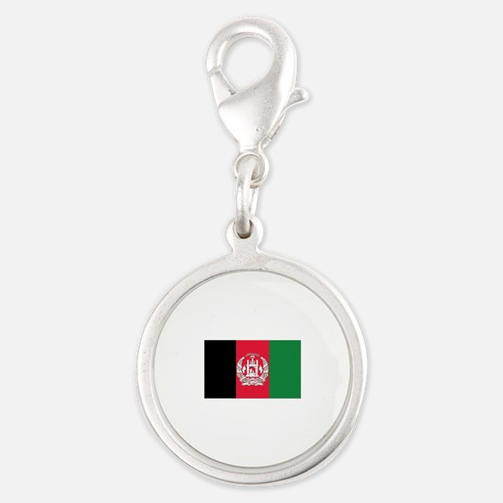 Flag of Afghanistan Silver Round Charm