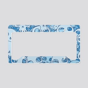 BLUE SKULLS License Plate Holder