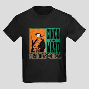 Cinco de Mayo Birthday Chica Kids Dark T-Shirt