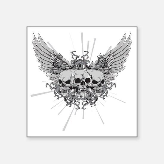 "Winged Skulls Square Sticker 3"" x 3"""