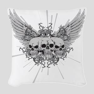 Winged Skulls Woven Throw Pillow