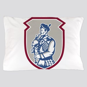 Scotsman Bagpiper Playing Bagpipes Shield Pillow C