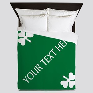 St Patricks Day Border CUSTOM TEXT Queen Duvet