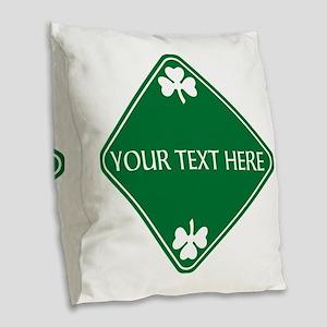 St Patricks Day Border CUSTOM Burlap Throw Pillow