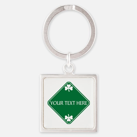St Patricks Day Border CUSTOM TEXT Square Keychain
