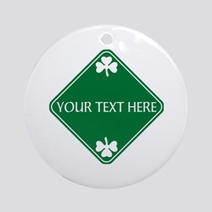 St Patricks Day Border CUSTOM TEX Ornament (Round)