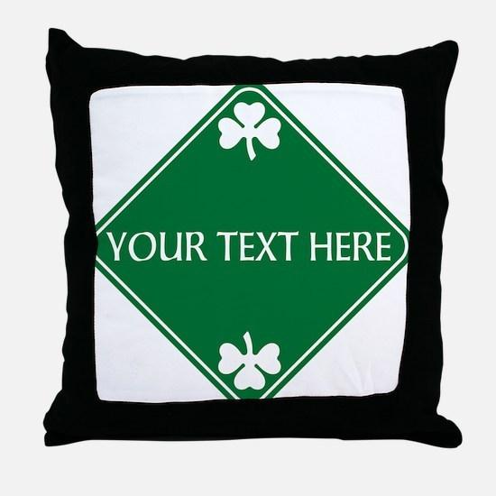 St Patricks Day Border CUSTOM TEXT Throw Pillow