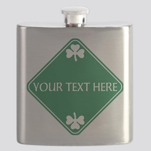 St Patricks Day Border CUSTOM TEXT Flask