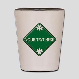 St Patricks Day Border CUSTOM TEXT Shot Glass