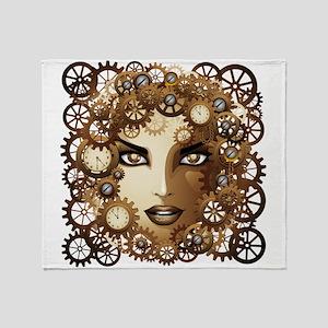 Steampunk Girl Portrait Throw Blanket