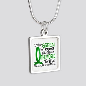 Means World to Me 1 Cerebr Silver Square Necklace