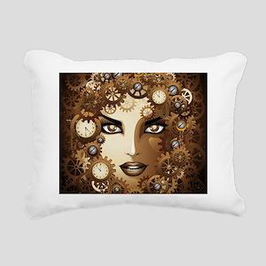Steampunk Girl Portrait Rectangular Canvas Pillow
