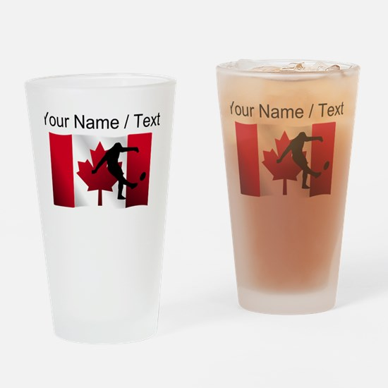 Custom Rugby Kick Canadian Flag Drinking Glass