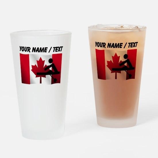 Custom Rowing Canadian Flag Drinking Glass