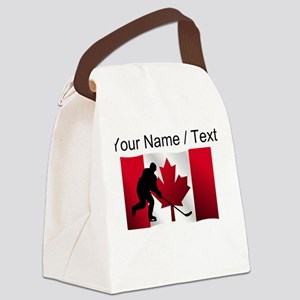 Custom Hockey Canadian Flag Canvas Lunch Bag