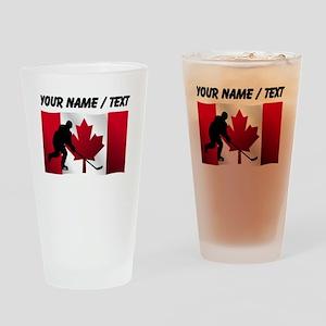 Custom Hockey Canadian Flag Drinking Glass