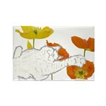 Checkers in Poppies Rectangle Magnet (10 pack)