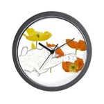 Checkers in Poppies Wall Clock
