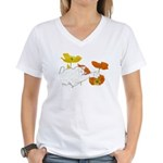 Checkers in Poppies Women's V-Neck T-Shirt