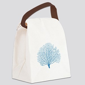 blue sea fan coral silhouette Canvas Lunch Bag