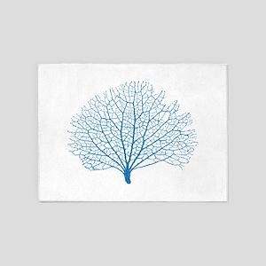 blue sea fan coral silhouette 5'x7'Area Rug