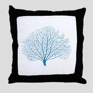 blue sea fan coral silhouette Throw Pillow