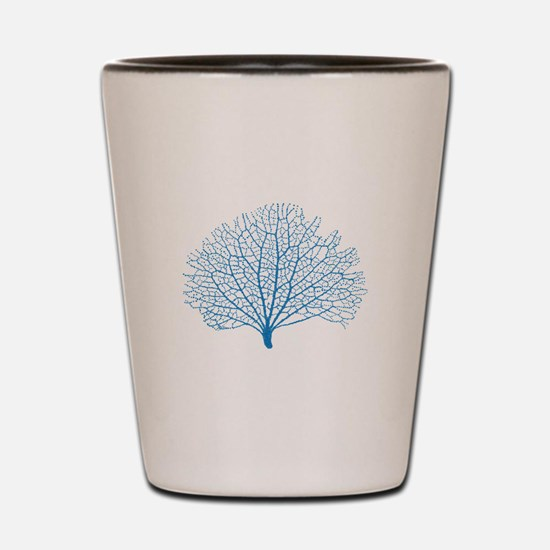 blue sea fan coral silhouette Shot Glass