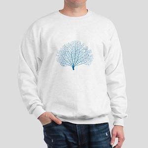 blue sea fan coral silhouette Sweatshirt