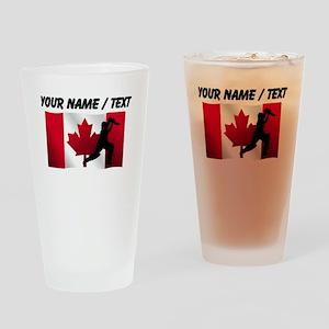 Custom Cricket Player Canadian Flag Drinking Glass