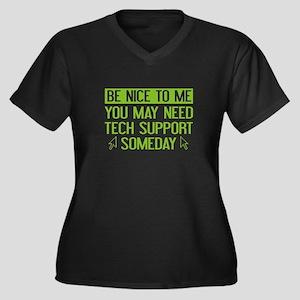 Be Nice To Me Women's Plus Size V-Neck Dark T-Shir