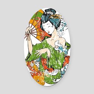 Japanese Geisha - bananaharvest Oval Car Magnet