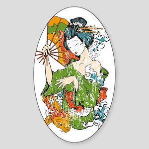 Japanese Geisha - bananaharvest Sticker (Oval)