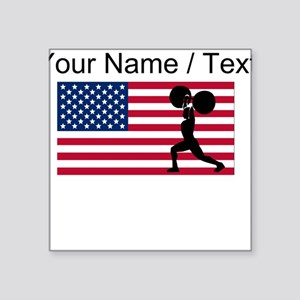 Custom Weightlifting American Flag Sticker