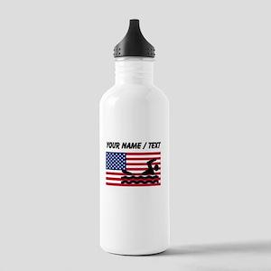 Custom Swimming American Flag Sports Water Bottle