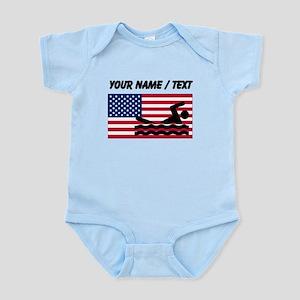 Custom Swimming American Flag Body Suit