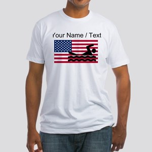 Custom Swimming American Flag T-Shirt