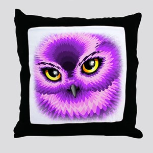 Pink Owl Eyes Throw Pillow
