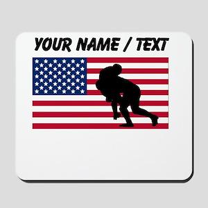 Custom Rugby Tackle American Flag Mousepad